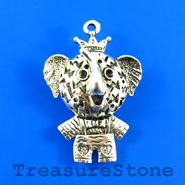 Pendant, silver-finished, 25x47mm elephant, filigree. Each.