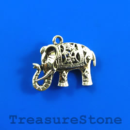 Charm, silver-finished, 17x18mm elephant. Sold each.