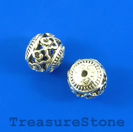 Bead, silver-finished, 14mm round, filigree. Pkg of 2