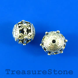 Bead, silver-finished, 14mm round, filigree. Pkg of 2.