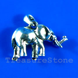 Pendant/charm, silver-finished, 22x15mm elephant. pkg of 2.
