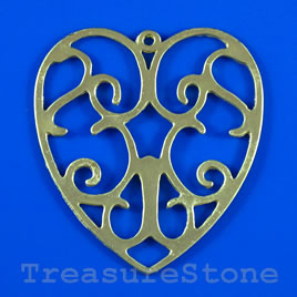 Pendant/charm, gold-finished, 56x60mm filigree heart. Each