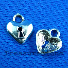 Pendant/charm, silver-finished,18mm heart lock. Pkg of 5.