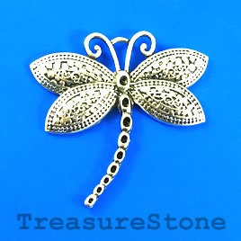 Pendant, silver-finished, 64x55mm dragonfly. Sold individually.