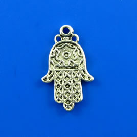 Charm, silver-finished, 13x20mm Fatima, hamsa hand. Pkg of 8.