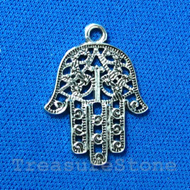 Pendant/charm,silver-finished,24mm filigree Fatima hand.Pkg of 4