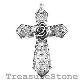 Pendant, 58x86mm filigree cross with crystals. Each.