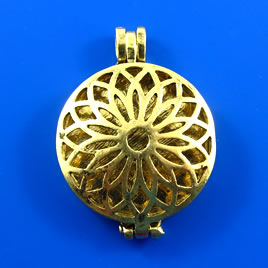 Floating Locket Pendant, pewter, gold, 33mm. Sold individually.