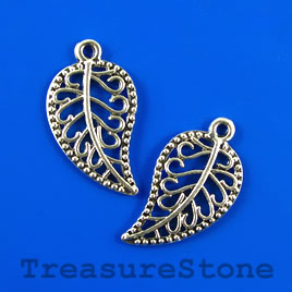 Pendant/charm, silver-colored, 17x27mm filigree leaf. Pkg of 8.