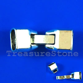 Clasp, snap lock, silver-finished, 33x13x9mm. Sold individually.