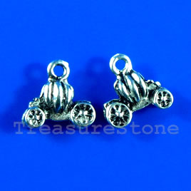 Pendant/charm, silver-finished,8x13mm pumpkin. Pkg of 10.