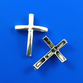 Link/pendant, silver-finished, 23x30mm cross. Pkg of 3.