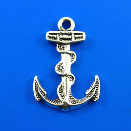 Charm, silver-finished, 24x30mm anchor. Pkg of 2.
