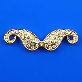 Pendant/link, rose gold colored, 13x40mm mustache. Each