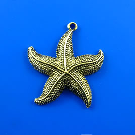 Pendant, brass-finished, 40mm starfish. Each.