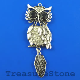 Pendant, silver-finished, 25x68mm owl with crystals. Each.
