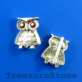 Bead/slider, silver-finished, 15x17 owl with crystals. Pkg of 2