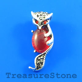 Pendant, 10x27mm fox with crystals. Each.