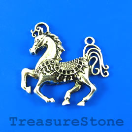 Pendant, silver-finished, 48mm horse. Sold individually.