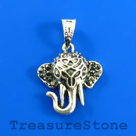 Charm/Pendant, 20mm elephant with crystals. Each.