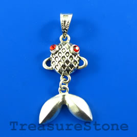 Pendant, 17x32mm fish with crystals. Each.