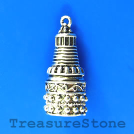 Pendant/Bead cone, silver-finished, 14x30mm tower. Each.