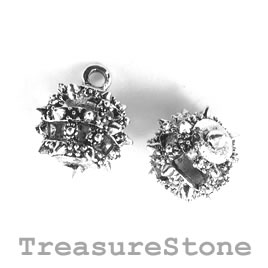 Charm/Pendant, silver coloured, 12mm filigree ball. Pack of 2.