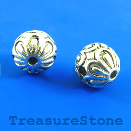 Bead, silver-plated, guru, 12mm round. Pkg of 3.