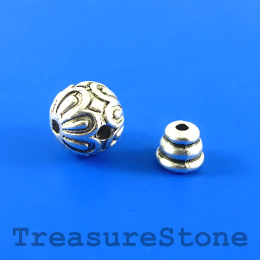 Bead, silver-finished, 12mm Guru bead set. two sets.