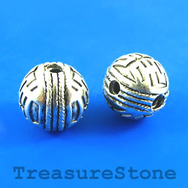 Bead, silver-plated, guru, 15mm round. Pkg of 3.