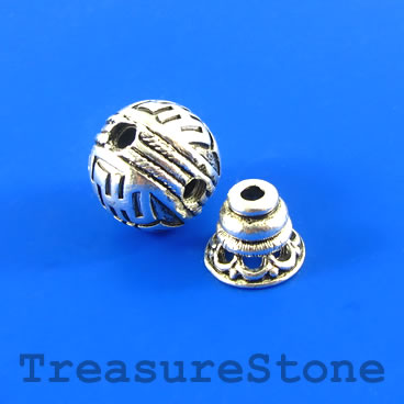 Bead, silver-finished, 14mm Guru bead set. each set.