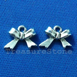 Pendant/charm, silver-finished, 11x15mm bow tie. pkg of 7.