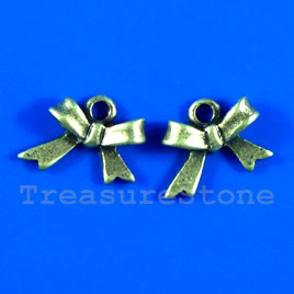 Pendant/charm, brass-finished, 11x15mm bow tie. Pkg of 7.