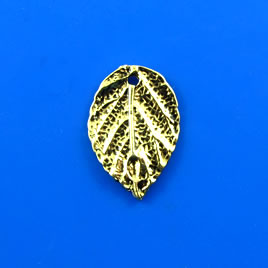 Charm, gold-finished, 8x19mmleaf. Pkg of 5.