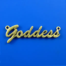 "Link/pendant, brass-finished, 47mm ""goddess"". Pkg of 2."