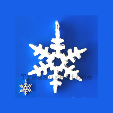 Charm/pendant, silver-plated, 17mm snowflake. Pkg of 2.