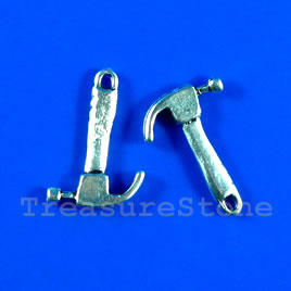 Pendant/charm, silver-finished,14x17mm hammer. Pkg of 8.