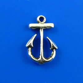 Charm, silver-finished, 15x20mm anchor. Pkg of 4.