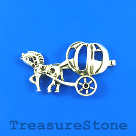 Pendant, silver-finished, 34x56mm horse with pumpkin cart. Each.
