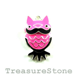 Charm/Pendant, 15x25mm pink owl. Each.