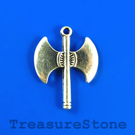 Pendant, silver-finished, 24x32mm axe. Pkg of 4.