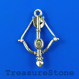 Pendant/charm, 26x32mm bow and arrow. Pkg of 4.