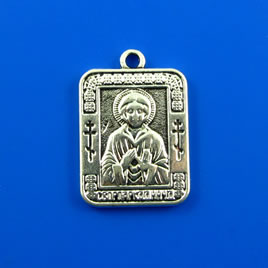 Charm,silver-finished, 18x22mm buddha. Pkg of 2.