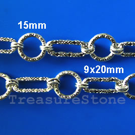 Chain, pewter, antiqued silver-finished, 13mm. Sold by meter.