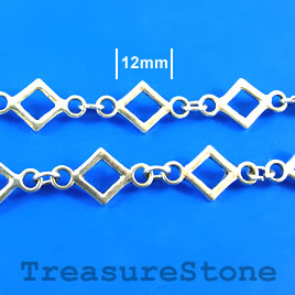 Chain, pewter, antiqued silver-finished, 12mm. Sold by meter.