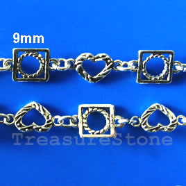 Chain, pewter, antiqued silver-finished, 9mm. Sold by meter.