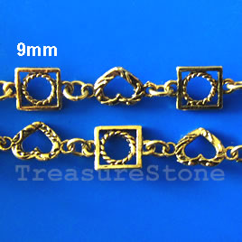 Chain, pewter, antiqued gold-finished, 9mm. Sold by meter.