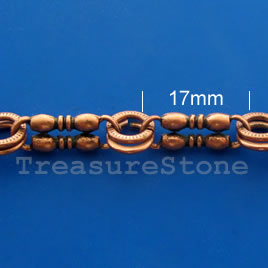Chain, pewter, antiqued copper-finished, 17mm. Sold by meter.