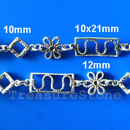 Chain,pewter,antiqued silver-finished,10x21/12mm. Sold by meter.