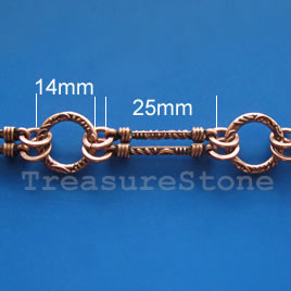 Chain, pewter,antiqued copper-finished, 14, 25mm. Sold by meter.